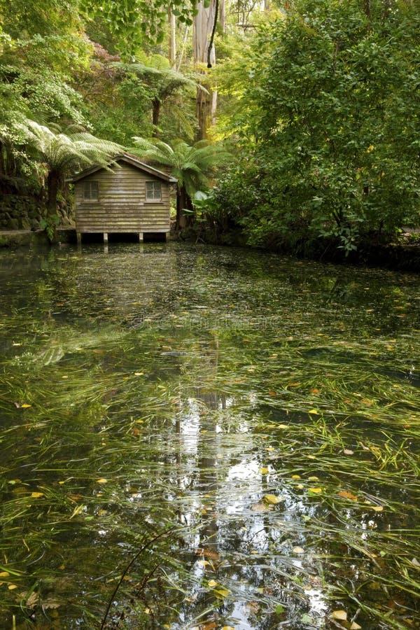 озеро дома шлюпки стоковая фотография rf