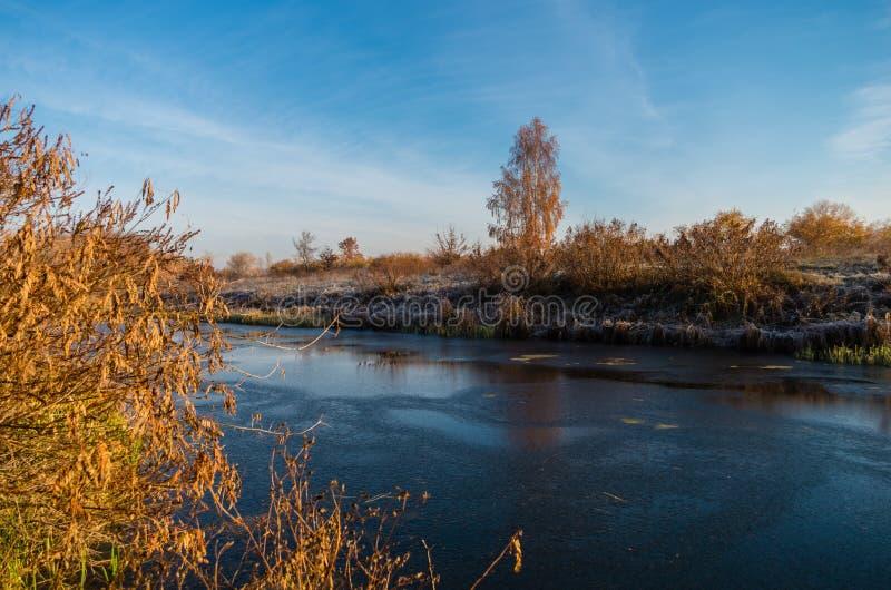 Озеро заморозка восхода солнца стоковое изображение rf
