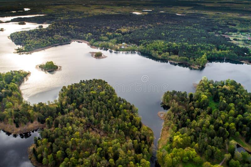 Озеро и лес, воздушные стоковые фото