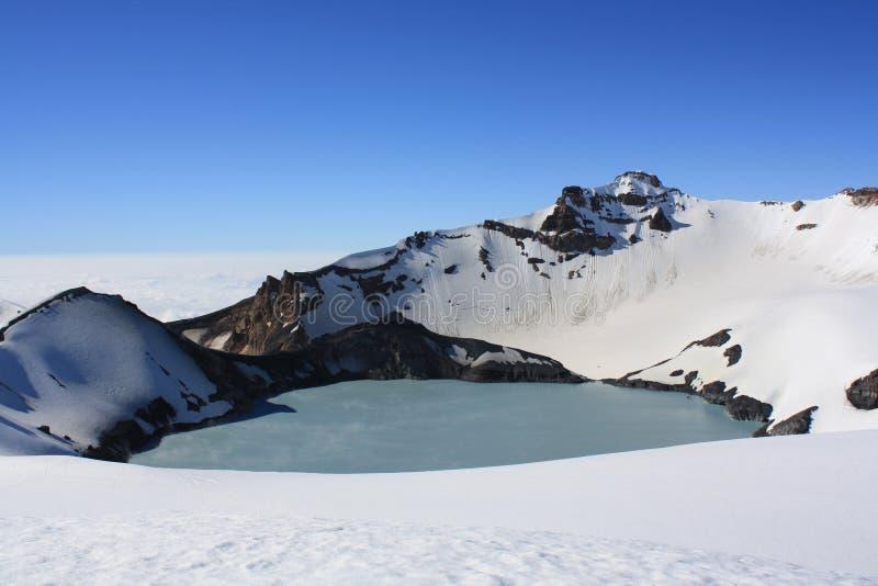 Озеро кратер Mt. Ruapehu стоковое изображение rf