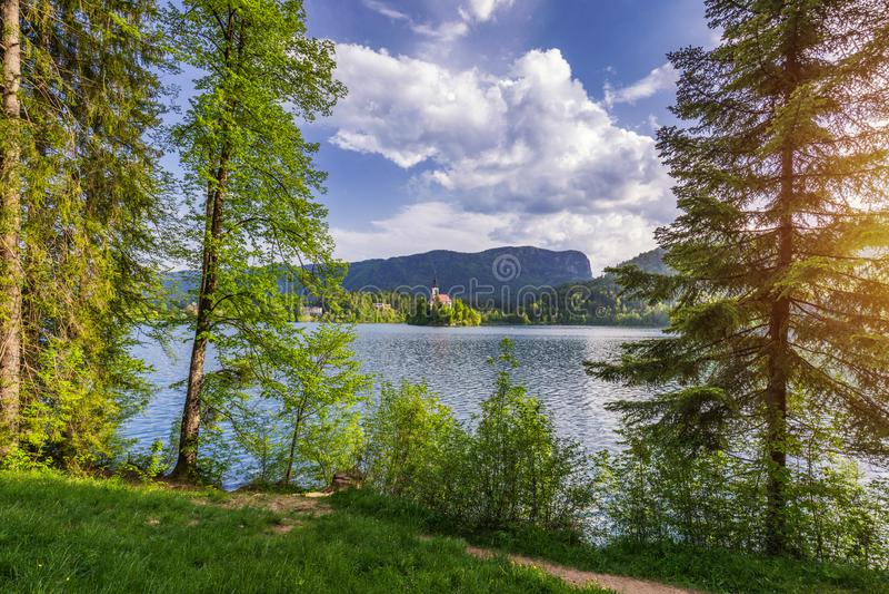Озеро кровоточило Словению Красивой озеро кровоточенное горой с небольшой церковью паломничества Большинств известные словенские  стоковое фото