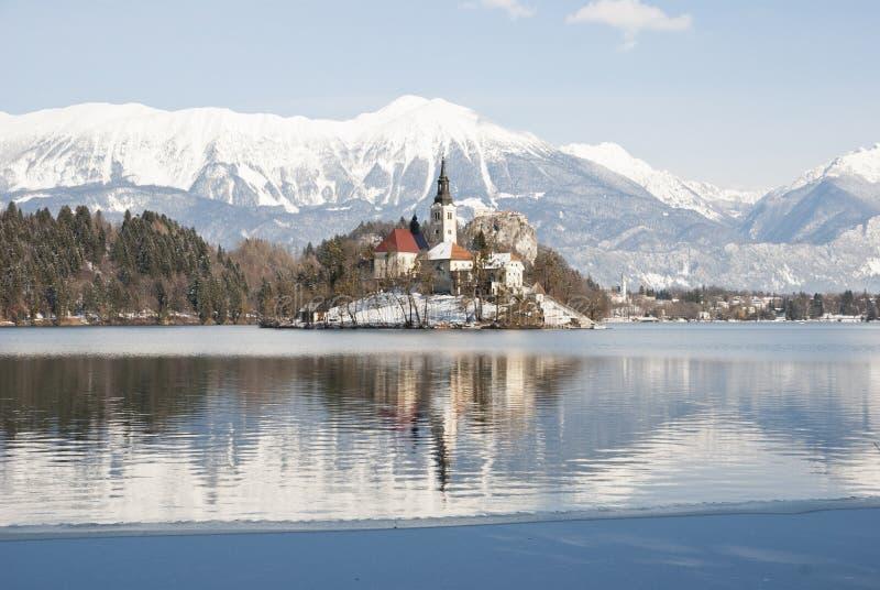 Озеро кровоточило с замком позади, кровоточено, Словения стоковые изображения rf