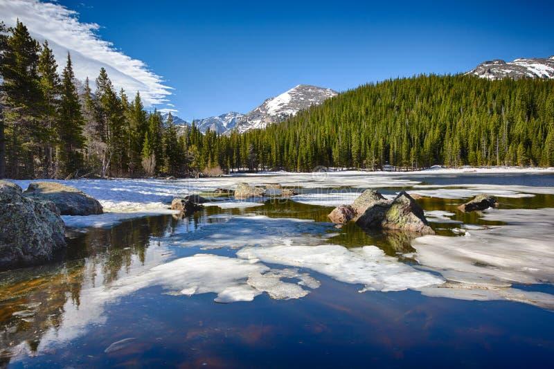 Озеро медвед на национальном парке скалистой горы стоковое изображение