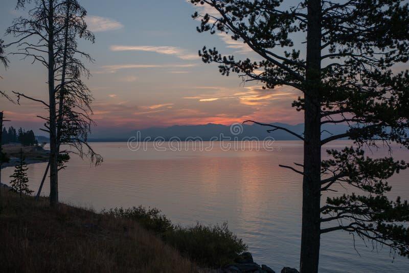 озеро над восходом солнца yellowstone стоковая фотография rf