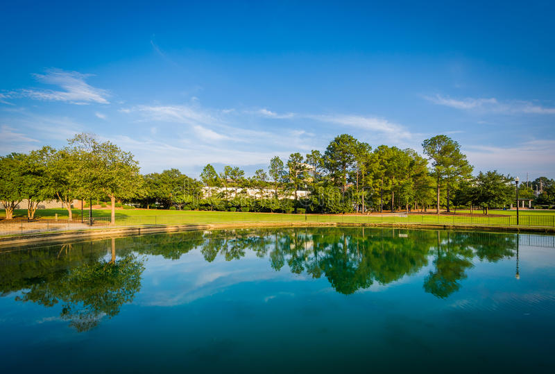 Озеро на парке Finlay, в Колумбии, Южная Каролина стоковое изображение rf