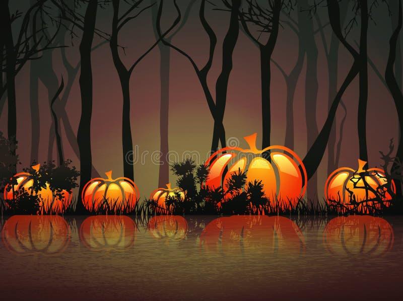 Озеро ноч тыквы иллюстрация штока