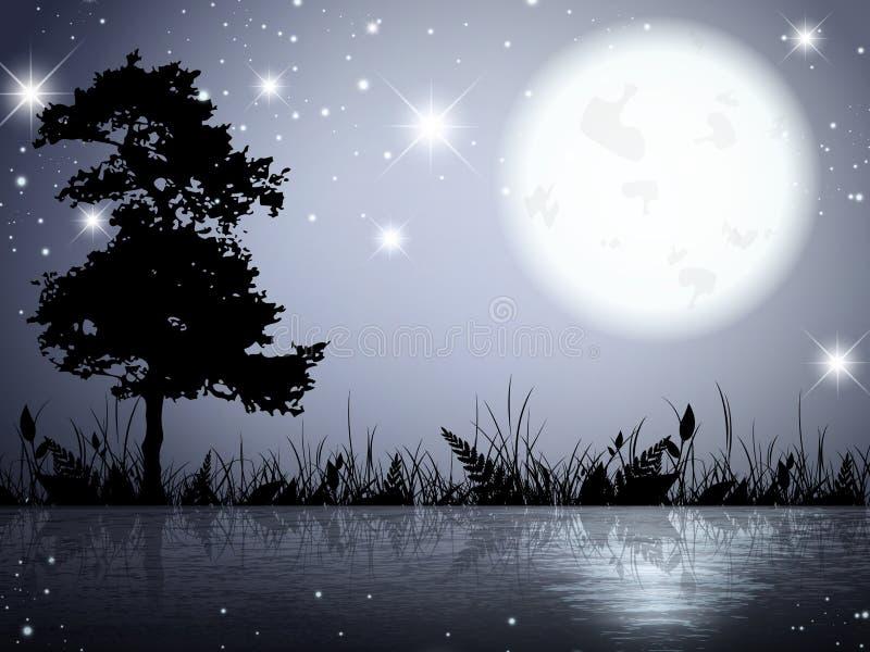Озеро ноч луны бесплатная иллюстрация