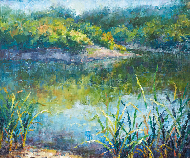 озеро осени штилевое иллюстрация вектора