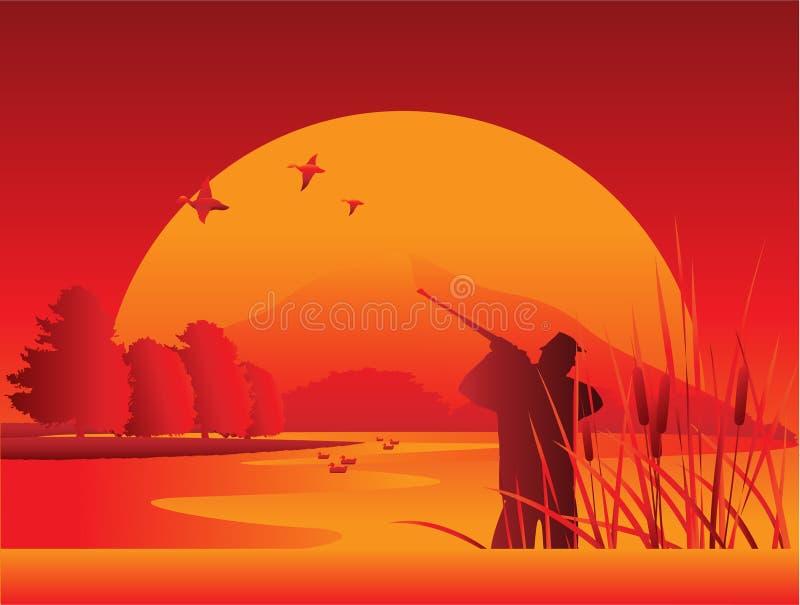 озеро охотника иллюстрация штока