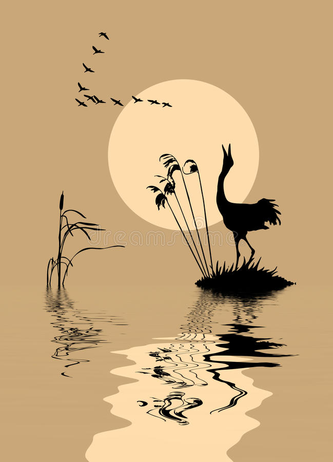 озеро птиц иллюстрация штока
