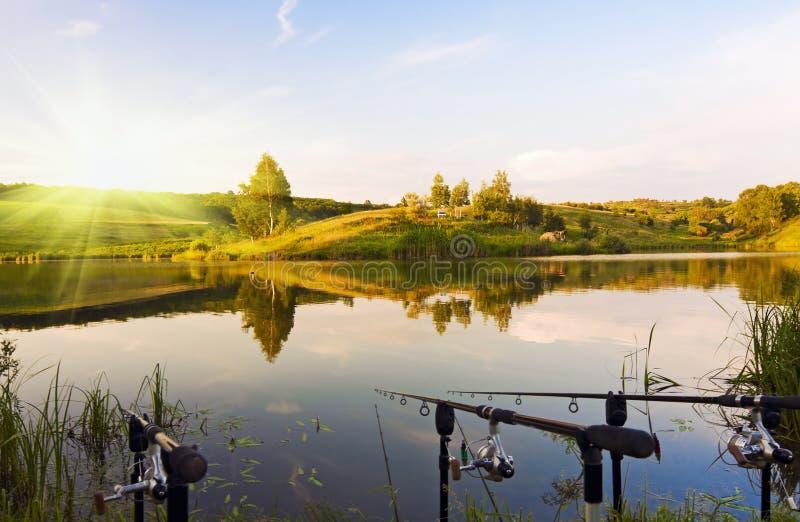 озеро рыболовства стоковая фотография