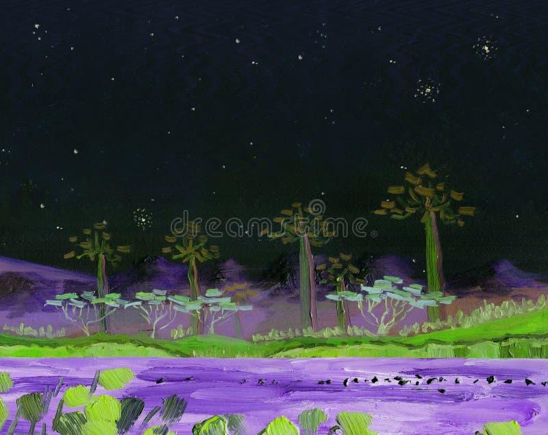 Озеро с тропическими деревьями на береге ноча иллюстрация штока