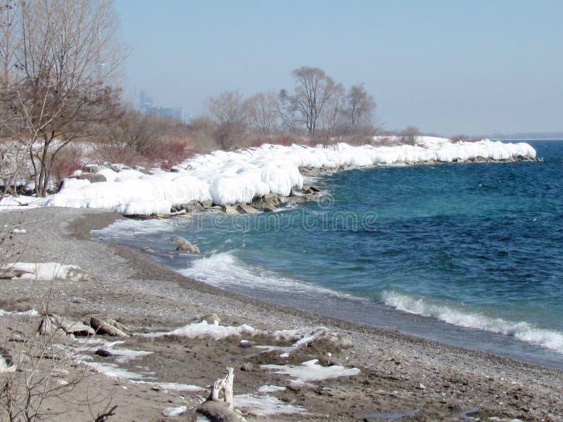 Озеро Торонто замороженный берег 2015 стоковые изображения