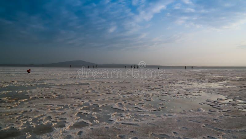 Озеро Assale или Asale на заходе солнца, Danakil Afar Эфиопия Karum озера сол aka стоковое изображение