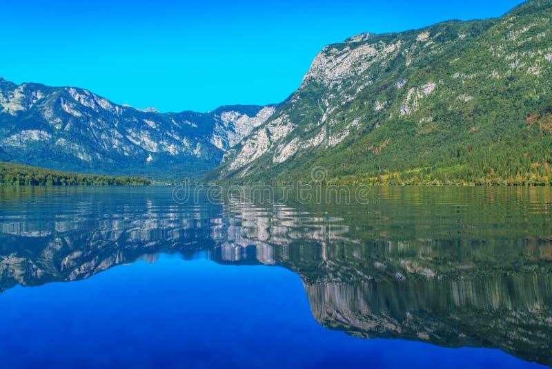 Озеро Bohinj с Джулианом Альпами отражая на поверхности стоковые фото