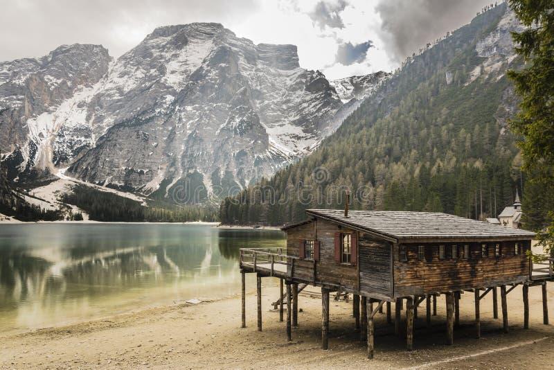 Озеро Braies, альт Адидже Trentino стоковые фотографии rf