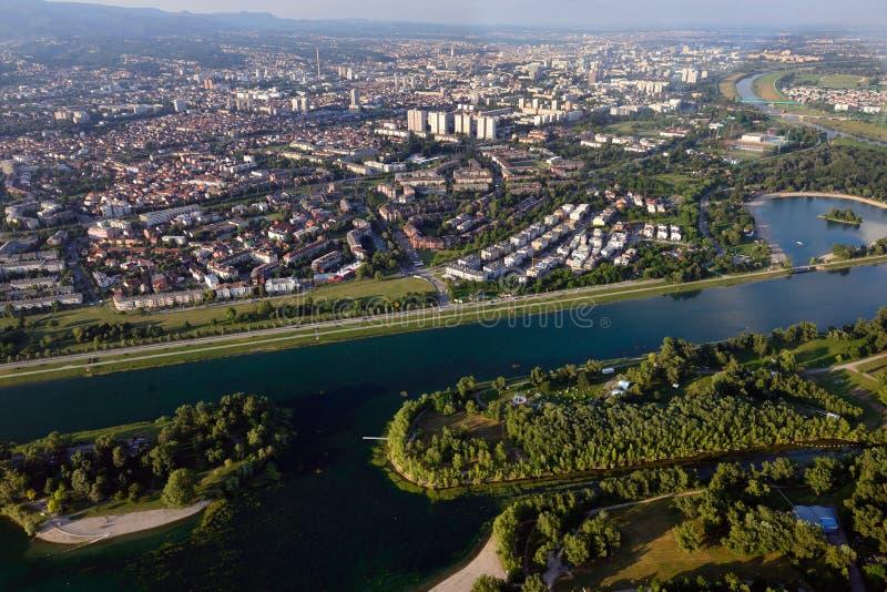 Озеро Jarun от воздуха стоковые изображения rf