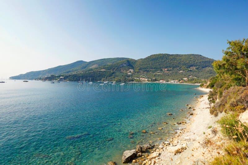 Озеро Keri в острове Закинфа, Греции стоковое фото rf