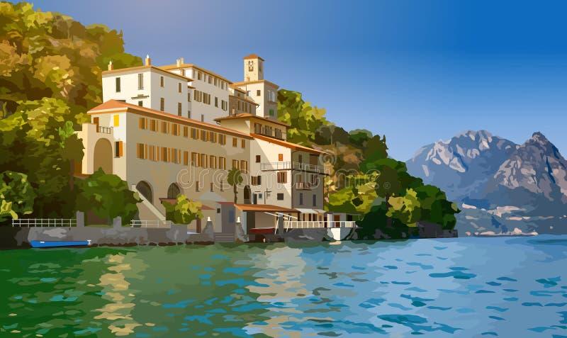 озеро lugano Швейцария бесплатная иллюстрация