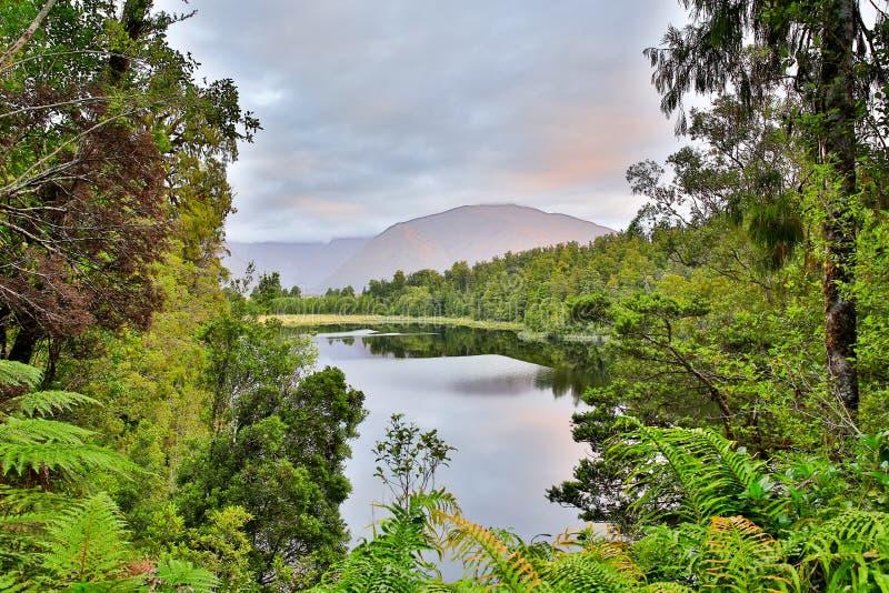Озеро Moeraki расположенное в Новой Зеландии стоковые изображения