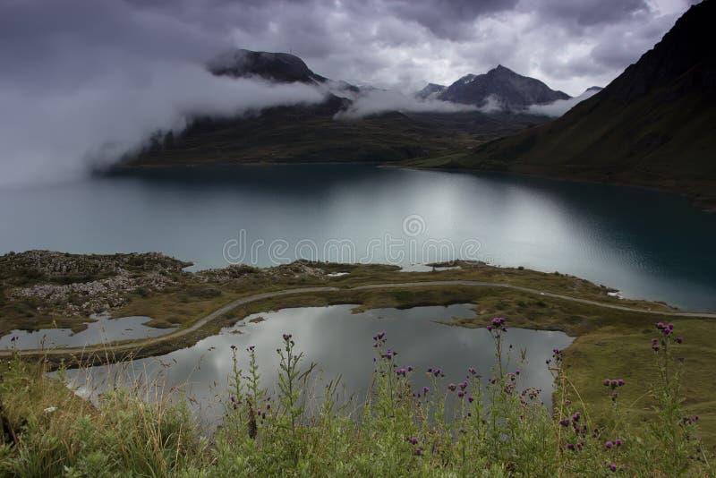 Озеро Mont Cenis, Франции стоковые изображения rf