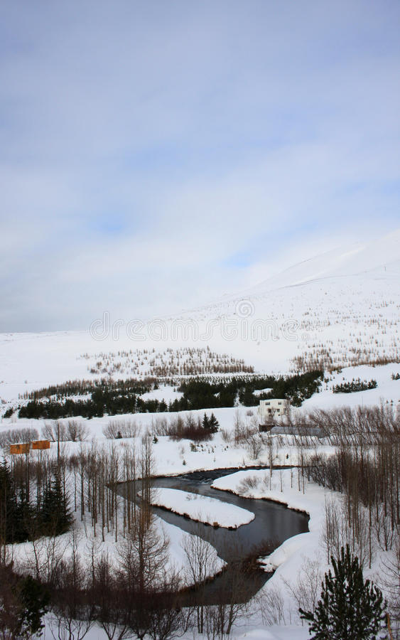Озеро Oxbow около Húsavík - портрет стоковые изображения rf