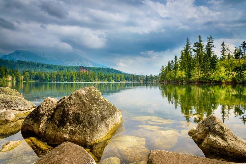 Озеро pleso Strbské в высоком Tatras, Словакии стоковая фотография