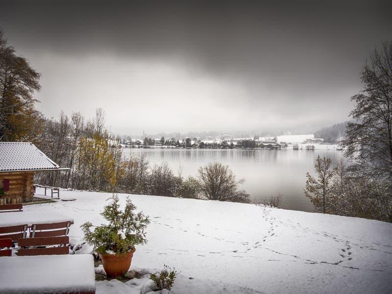 Озеро Schliersee в зиме стоковые фотографии rf