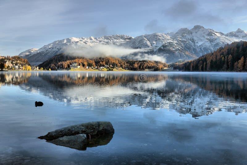 Озеро St Moritz в осени стоковые фотографии rf