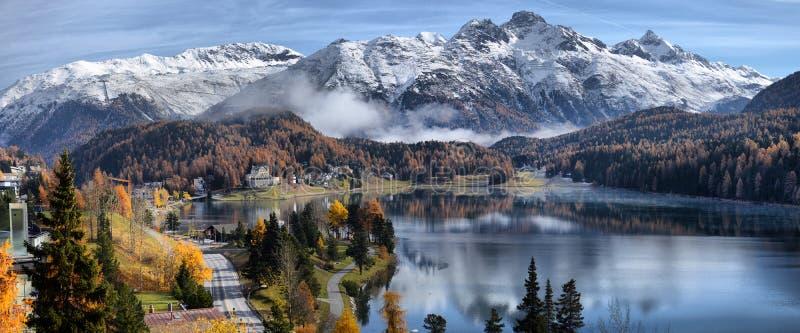 Озеро St Moritz с в осенью стоковое фото rf