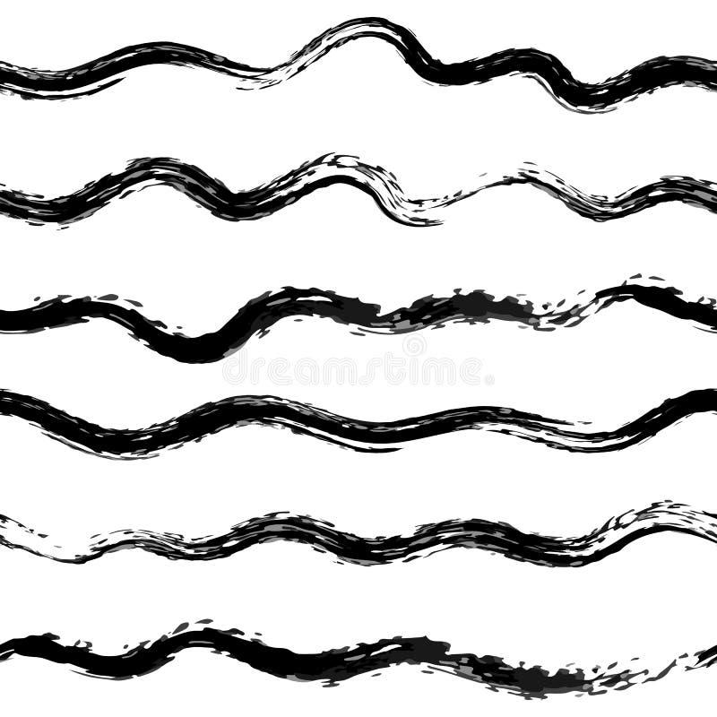 Океанские волны вектора делают по образцу черным по белому стоковое изображение rf