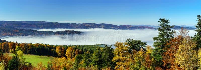 Океан движения тумана под камерой Большой overcast над Эльзасом Панорамный взгляд от верхней части горы стоковые фотографии rf