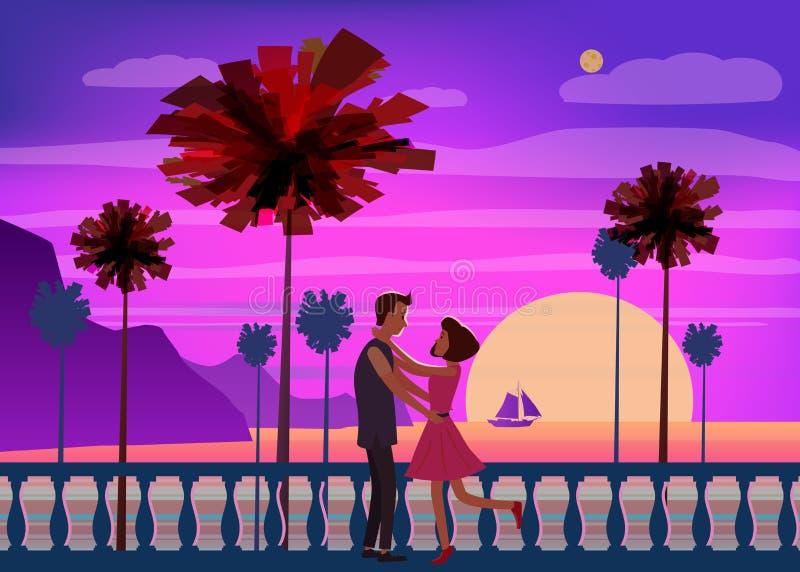 Океан захода солнца, море, пальмы, горы, обваловка, заходящее солнце, seascape Встречать пару в влюбленности, романс, влюбленност бесплатная иллюстрация