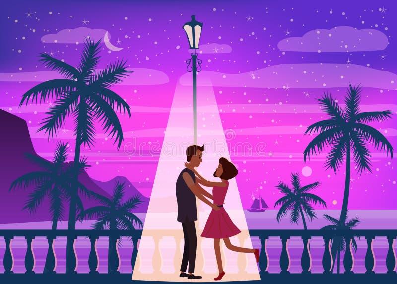 Океан захода солнца, море, пальмы, горы, обваловка, заходящее солнце, seascape Встречать пару в влюбленности, романс, влюбленност иллюстрация вектора