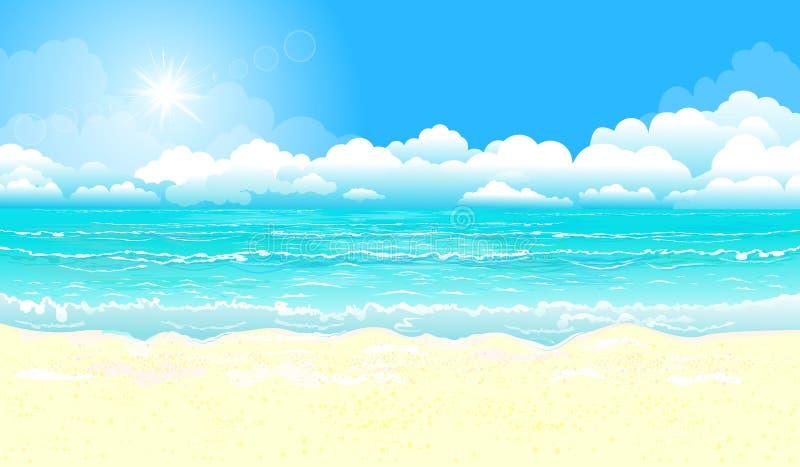Океан и песчаный пляж Океан, небо, солнце и песок бесплатная иллюстрация