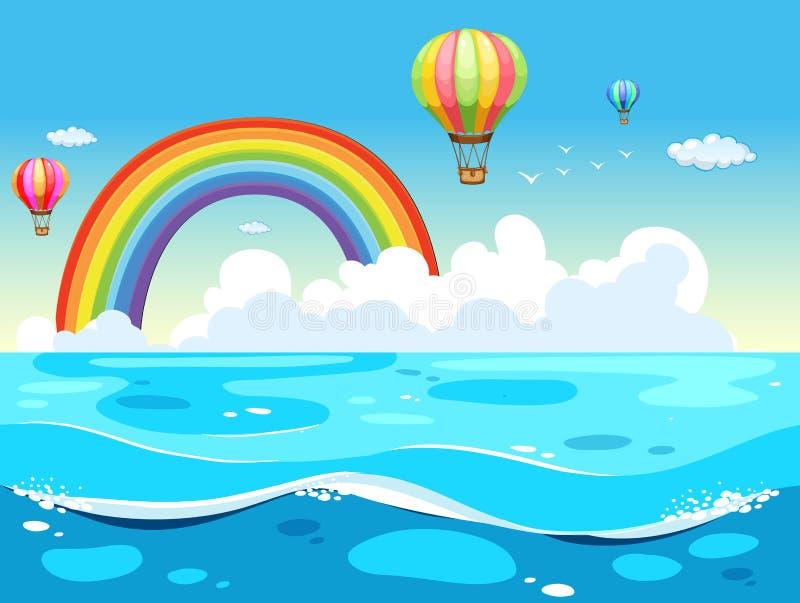 Океан и радуга иллюстрация вектора