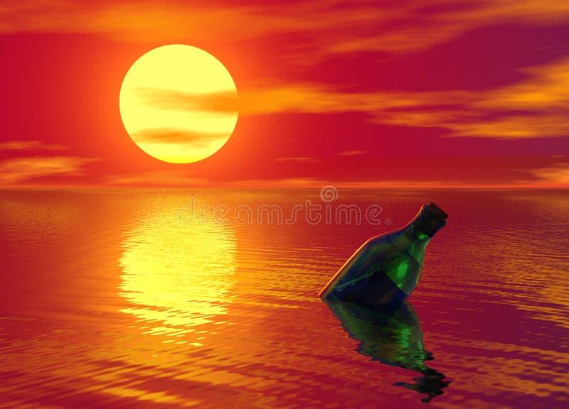 океан сообщения бутылки плавая иллюстрация штока