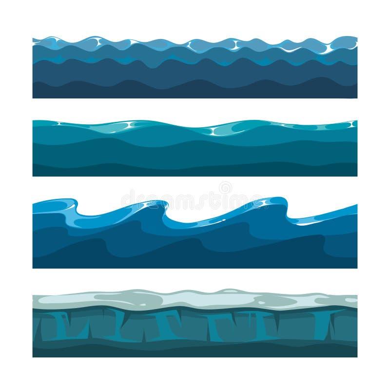 Океан шаржа, море, картины вектора волн воды безшовные иллюстрация вектора