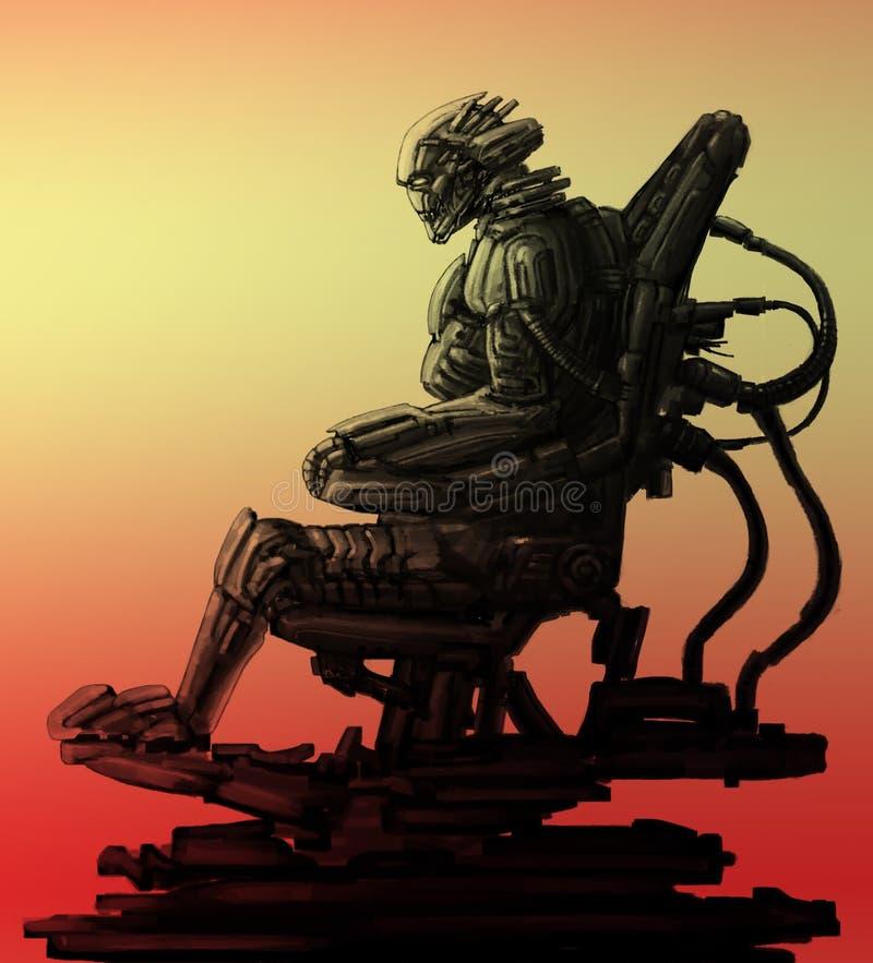 Оккупант космонавта сидит в костюме Иллюстрация научной фантастики иллюстрация штока