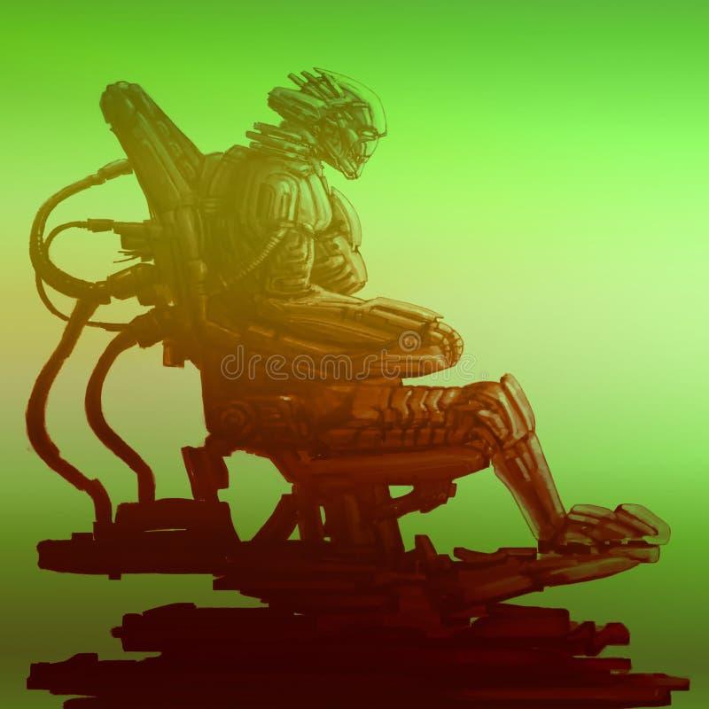 Оккупант космонавта сидит в костюме на его железном троне Иллюстрация научной фантастики иллюстрация штока