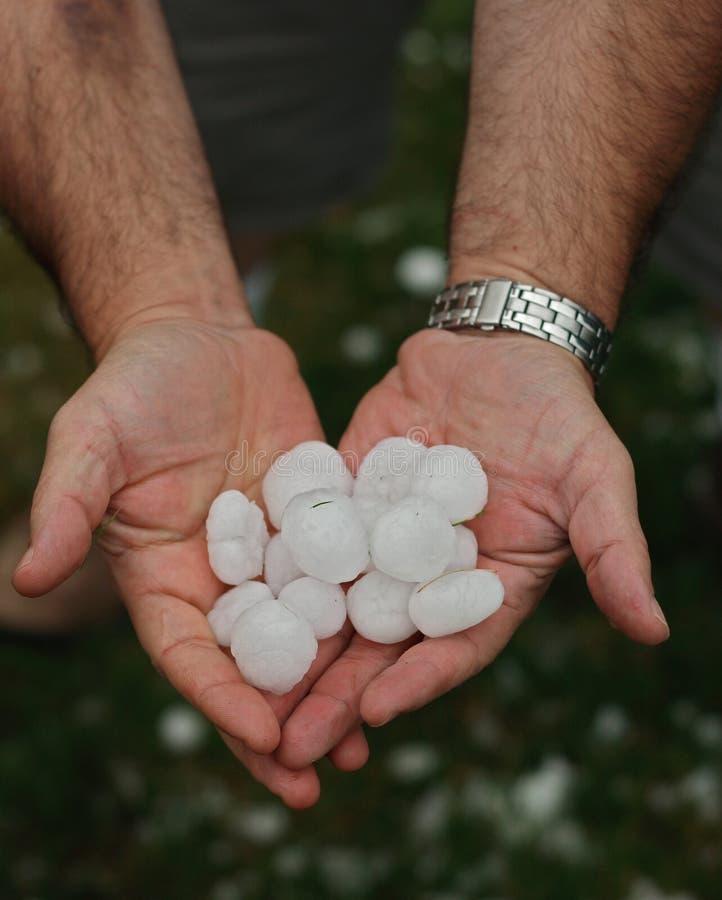 Оклик в руках после hailstorm стоковое изображение