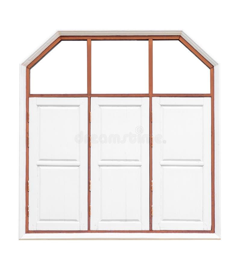 Окна белого цвета старые деревянные 3 r Сохраните с путем клиппирования стоковое фото
