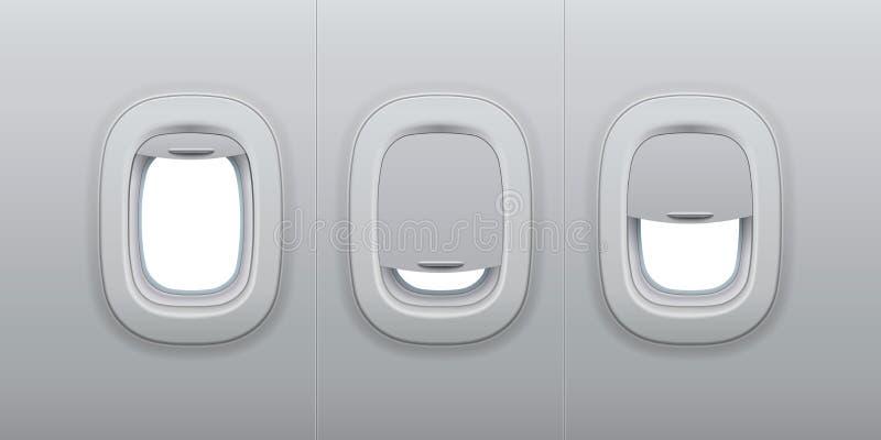 Окна воздушных судн Иллюминаторы самолета крытые, плоское внутреннее окно и иллюстрация вектора иллюминатора 3d фюзеляжа стеклянн иллюстрация вектора
