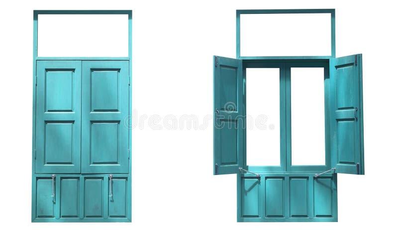 Окна лета 2 деревянные двойные один открытый один конец изолированный на whit стоковые фотографии rf