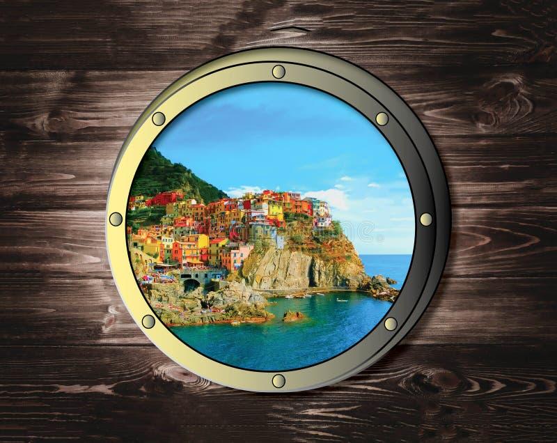 2 окна корабля с тропическим островом моря или океана Концепция перемещения и приключения стоковые изображения