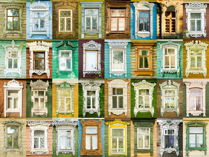 окна разнообразия городка rostov русские стоковое изображение