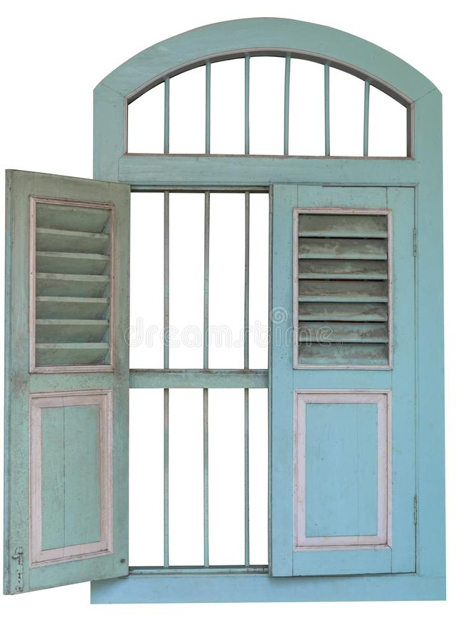 Окна салатового цвета старые деревянные r Сохраните с путем клиппирования стоковые изображения rf