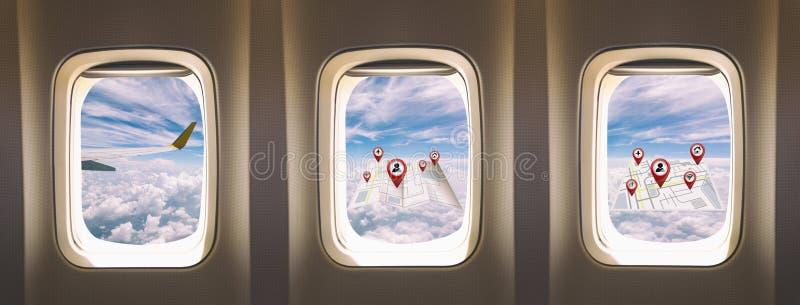 Окна самолета стоковые изображения rf