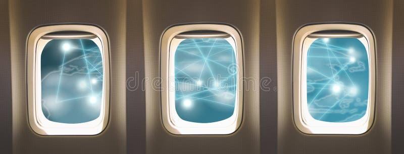 Окна самолета стоковые фотографии rf