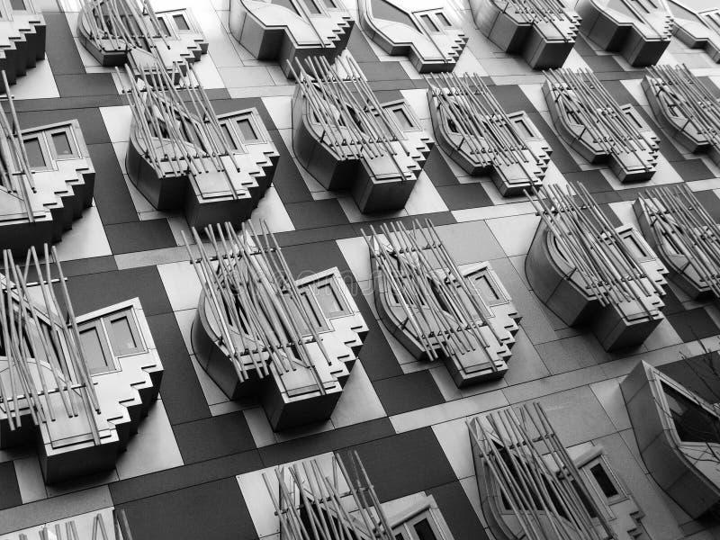 окна scottish парламента стоковое изображение